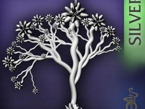 'Blossom tree' a fractal pendant 6cm  in Polished Silver