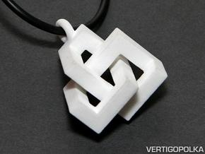 Cubic Knot Pendant 2 in White Strong & Flexible
