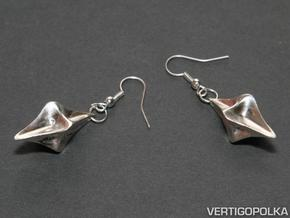 Pinched Silver Earrings in Raw Silver