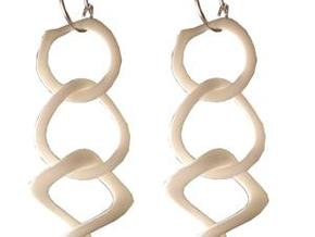Tumbling loops earrings in White Strong & Flexible Polished