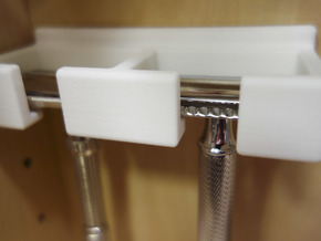 Razor rack for two safety razors, wall mountable. in White Strong & Flexible Polished