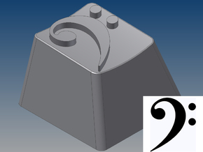 Bass Clef Keycap (R4, 1x1) in White Strong & Flexible