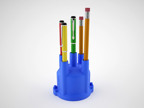 Distributor Pen Holder  in Blue Strong & Flexible Polished