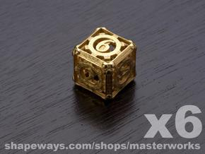 Steampunk 6d6 Set in Matte Gold Steel