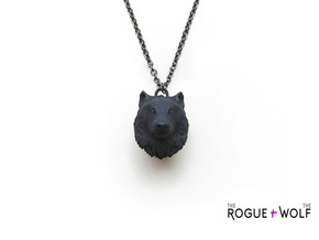 Wolf Head Pendant in Black Strong & Flexible