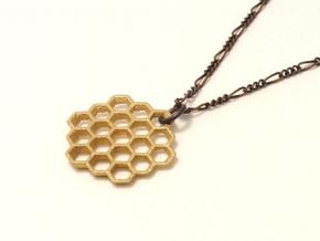 Honeycomb Slice Pendant in Matte Gold Steel