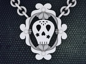 Sugar Skull Necklace in White Strong & Flexible Polished