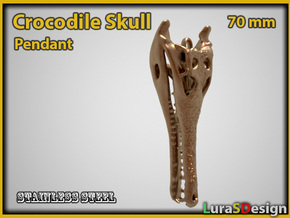 extinct Crocodile Skull Pendant in White Strong & Flexible Polished