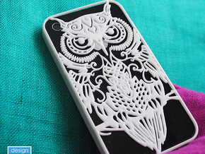 iPhone 4/4s case with owl design in White Strong & Flexible Polished
