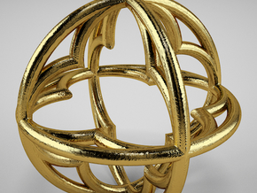 Pendant Simple 34mm in Polished Gold Steel