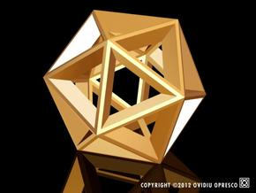 Polyhedral Sculpture #20 in Polished Gold Steel