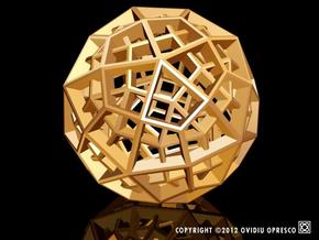 Polyhedral Sculpture #30B in Polished Gold Steel