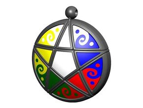 Pentacle Pendant Puzzle in White Strong & Flexible
