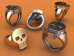 Skull V Ring in Stainless Steel