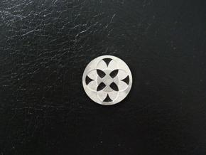 Round Pendant - Four Fountains in Raw Silver