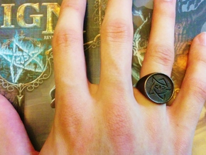 Elder Sign Signet Ring Size 8.5  in Polished Bronze Steel