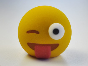 3D Emoji Winking with Tongue Out in Full Color Sandstone