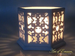 Islamic Geometric Candle Lantern. in Sandstone