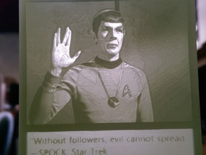 Mr Spock hanging lithophane Meme in White Acrylic