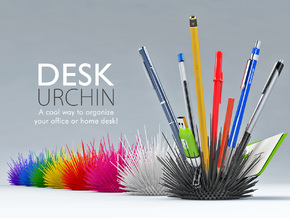 Desk Urchin - A cool way to organize your desk! in White Strong & Flexible