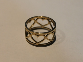 5 Heart Ring V1 Ring Size 8 in 14k Gold Plated