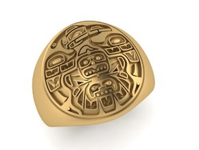 Tiki Man mask ring in Premium Silver