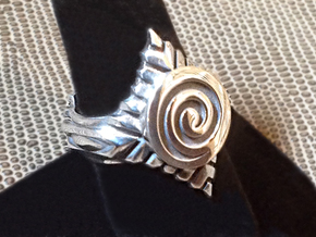 Green Leaf Ring - Size 9 1/2 (19.35 mm) in Polished Silver