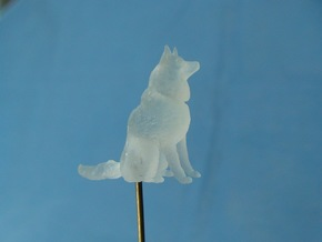 Dog Figurine - Sitting Finnish Spitz 1:43,5 scale  in Frosted Ultra Detail