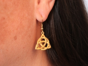 Triquetra Earrings in Matte Gold Steel