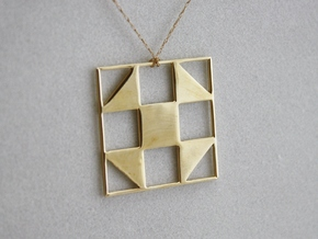 Shoo Fly Quilt Block Pendant in Polished Brass