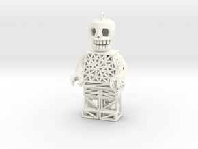 Los Muertos Lego Man Solid Head in White Strong & Flexible Polished