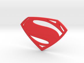 Man Of Steel Emblem - With Pegs in Red Strong & Flexible Polished