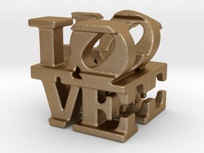 love/life - tiny (1cm) in Matte Gold Steel