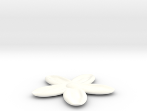 Flower for with a Magnet in White Strong & Flexible Polished