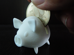 Micro Piggy Bank (Small) in White Strong & Flexible