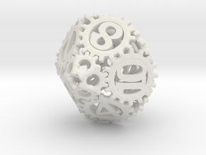Static Gear Die (D10) in White Strong & Flexible