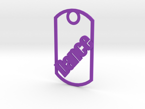 Dance dog tag in Purple Strong & Flexible Polished