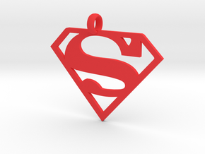 Superman necklace charm in Red Strong & Flexible Polished