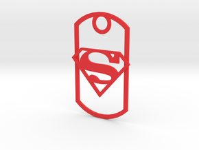 Superman dog tag in Red Strong & Flexible Polished