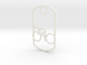Cyclist - racing - dog tag in White Strong & Flexible Polished