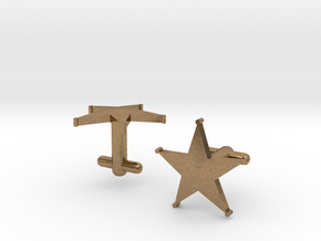Sheriff's Star Cufflinks (1) Silver,Brass, or Gold in Raw Brass