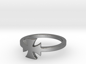 Outlaw Biker Iron Cross (small) Ring Size 10 in Polished Silver