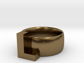 L Ring in Polished Bronze