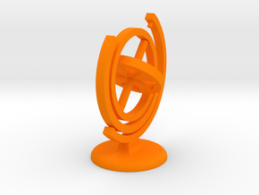 Gyroscope with stand (coloured plastic) in Orange Strong & Flexible Polished