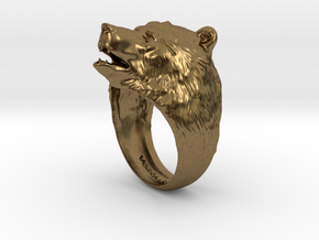 Bear ring in Raw Bronze