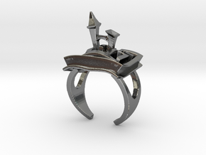 A Maze Ring Tower in Polished Silver