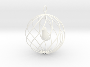 merry bird - christmas ornament in White Strong & Flexible Polished