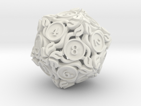 20-sided die with leaves in White Strong & Flexible