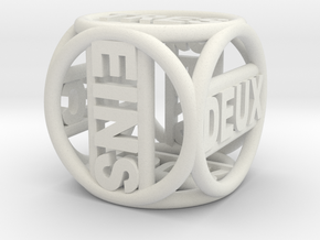 Text Dice   10mm in White Strong & Flexible