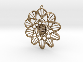 DNA FLOWER PENDANT in Polished Gold Steel